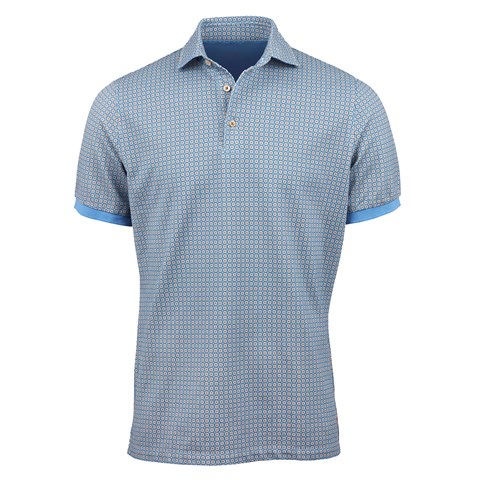 Light Blue Micro Flower Polo Shirt