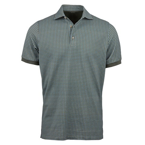Forest Green Micro Flower Polo Shirt