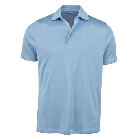 Light Blue Mercerized Cotton Polo Shirt