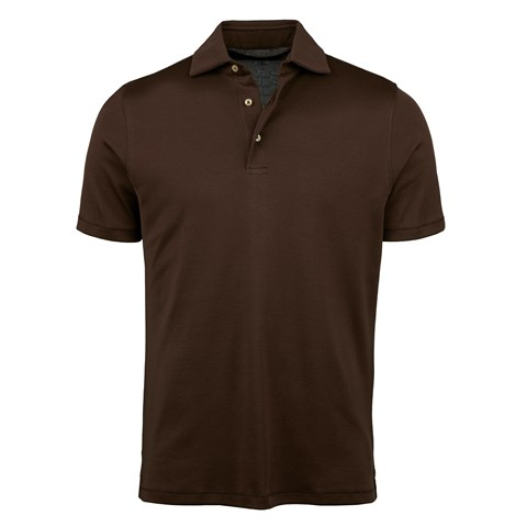 Brown Mercerized Cotton Polo Shirt