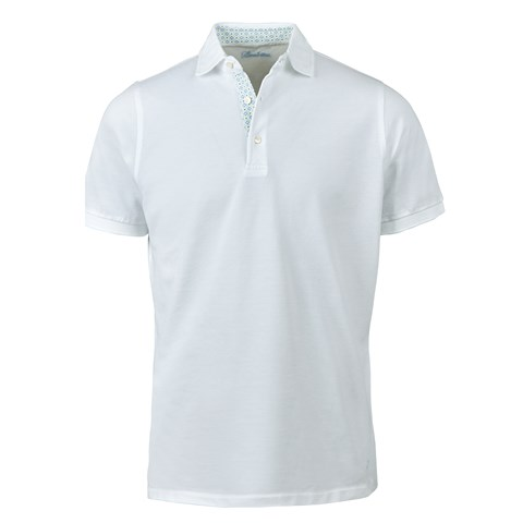 White Cotton Contrast Polo Shirt