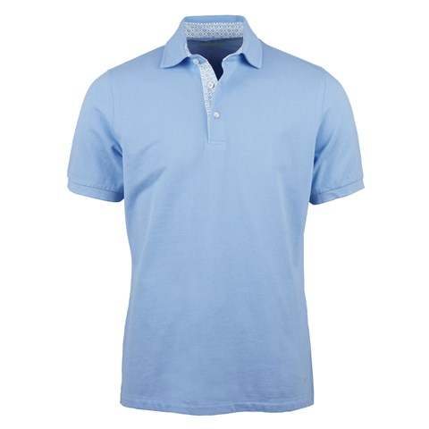 Light Blue Cotton Contrast Polo Shirt