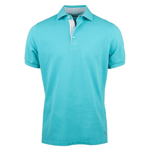 Turquoise Cotton Contrast Polo Shirt