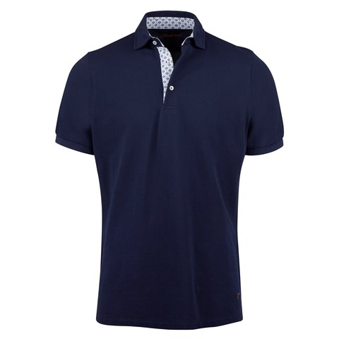 Navy Cotton Contrast Polo Shirt