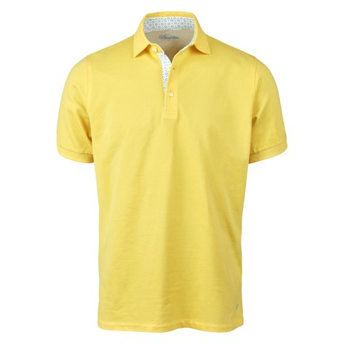 Yellow Cotton Contrast Polo Shirt