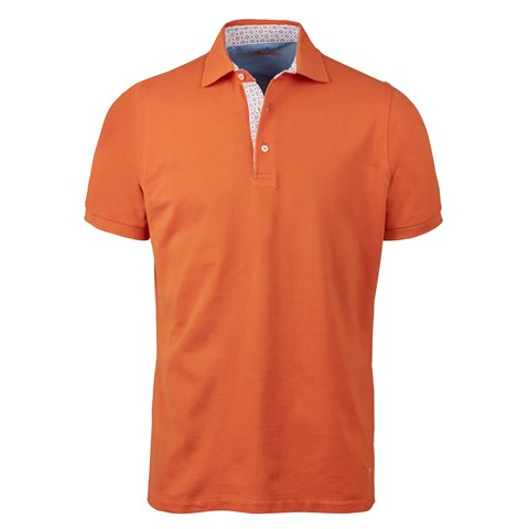 Orange Cotton Contrast Polo Shirt