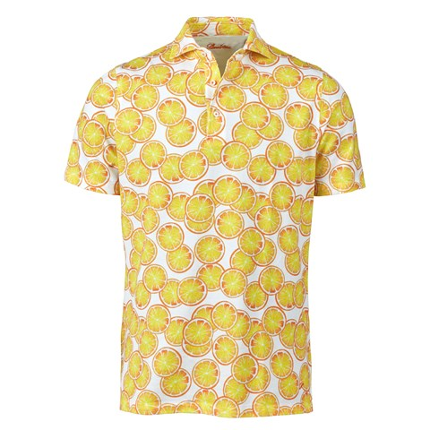 Yellow Fruit Printed Cotton Polo Shirt