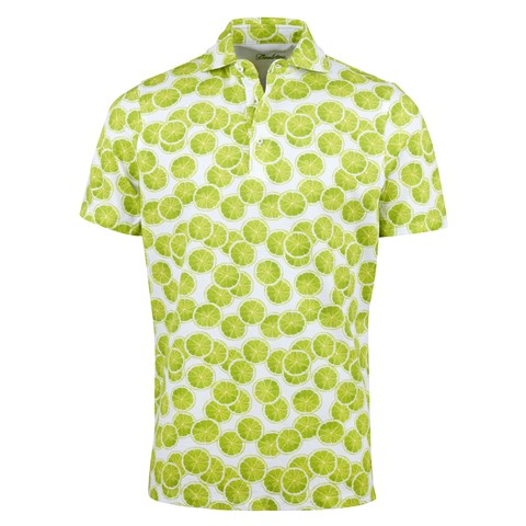 Green Fruit Printed Cotton Polo Shirt