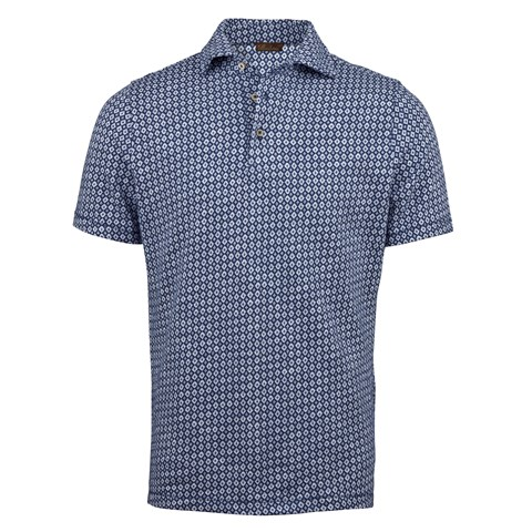 Blue Jersey Jacquard Polo Shirt