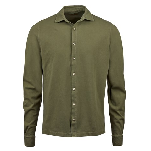 Forest Green Pigment Dyed Pique Shirt