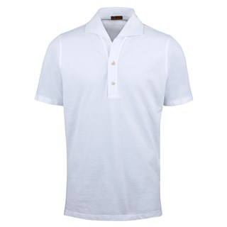 White Polo Shirt With One Piece Collar