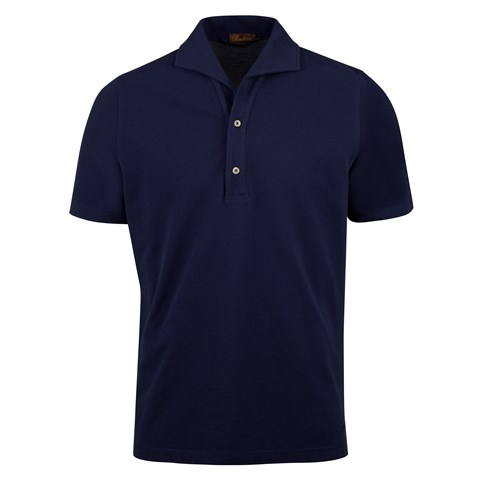 Navy Polo Shirt With One Piece Collar