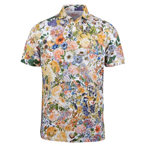 Bloom Patterned Cotton Polo Shirt