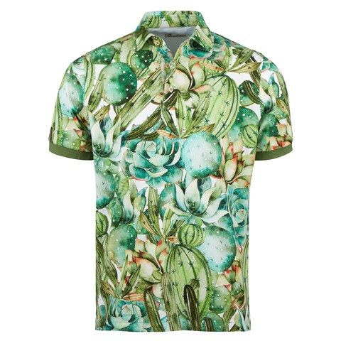 Cactus Patterned Cotton Polo Shirt