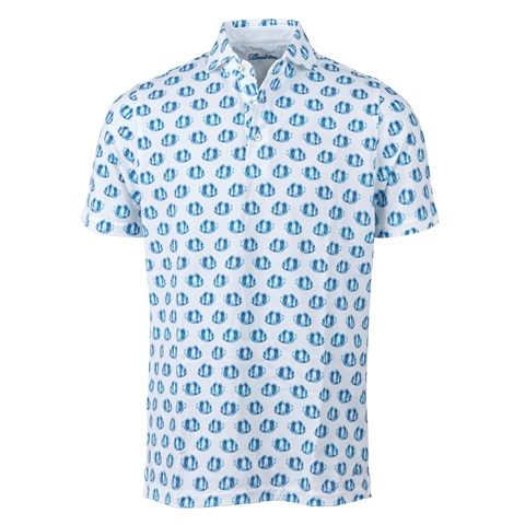 Light Blue Fish Patterned Polo Shirt