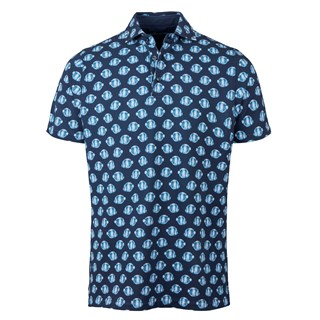 Navy Fish Patterned Polo Shirt
