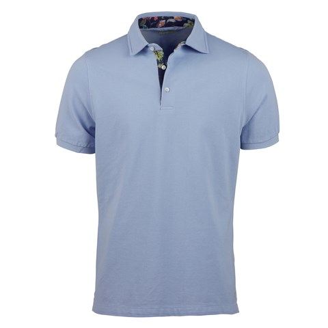 Blue Polo Shirt With Contrast