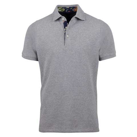 Grey Polo Shirt With Contrast