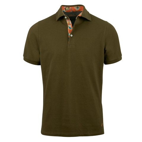 Green Polo Shirt With Contrast