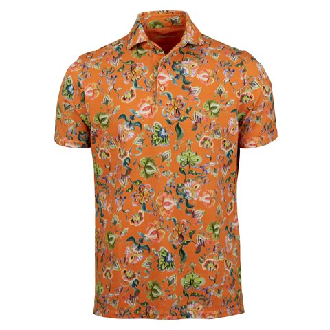Floral Watercolor Pique Polo Shirt