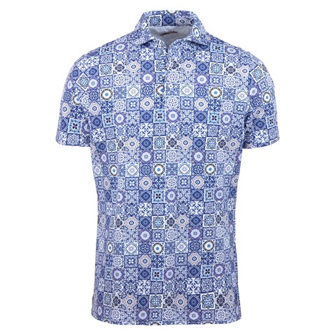 Tile Patterned Polo Shirt