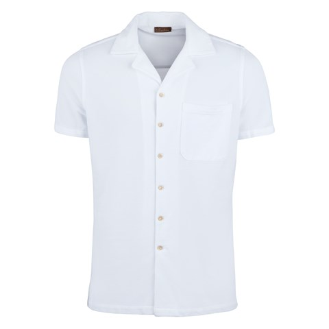 White Polo Shirt With Camp Collar