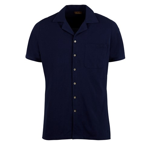 Navy Polo Shirt With Camp Collar