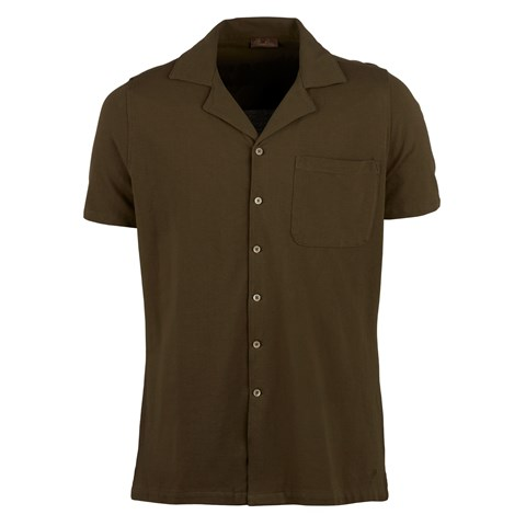 Green Polo Shirt With Camp Collar