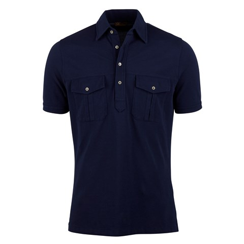 Navy Utility Polo Shirt With Pockets