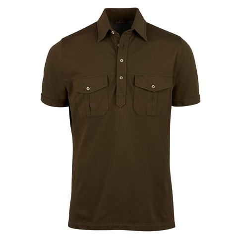 Green Utility Polo Shirt With Pockets