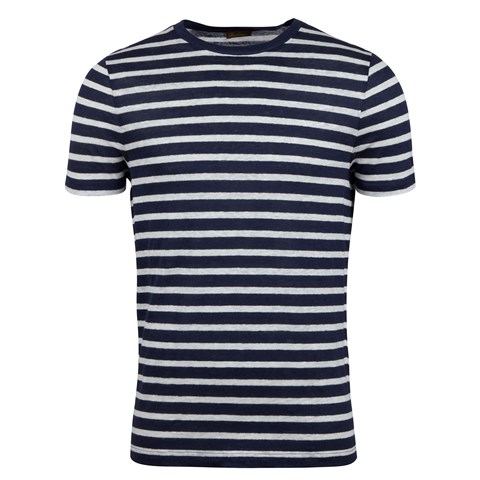Navy Striped Linen T-shirt