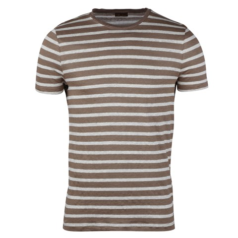 Striped Linen T-shirt Brown