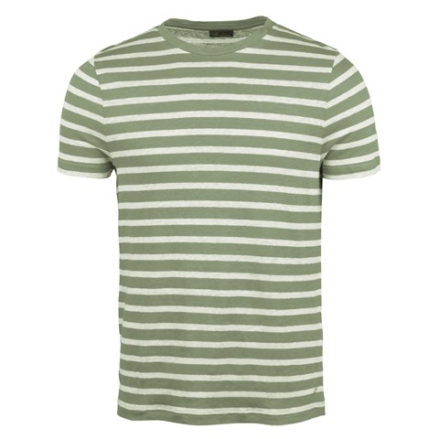 Striped Linen T-shirt Green
