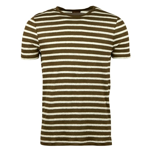 Olive Striped Linen T-shirt