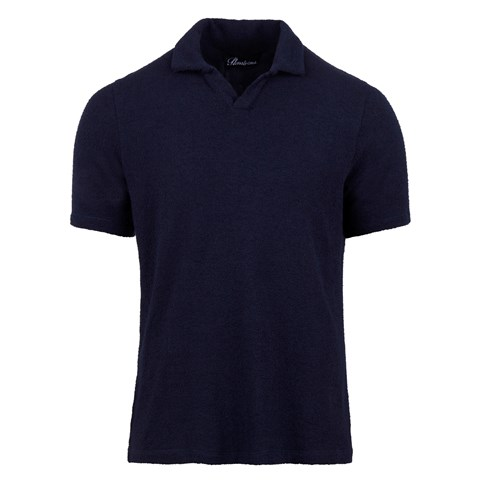 Bouclé Polo Shirt Navy