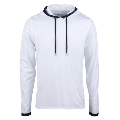 White Lightweight Hoodie With Contrast