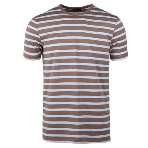 Cotton T-shirt Striped Brown