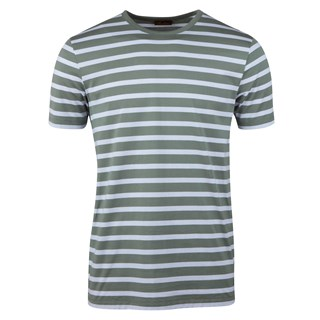 Cotton T-shirt Striped Green