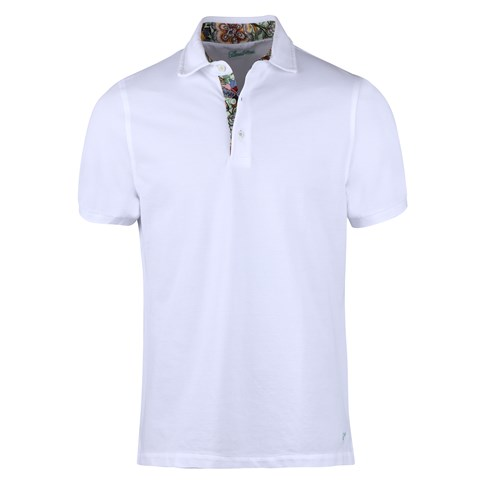 White Cotton Contrast Polo Shirt Contrast