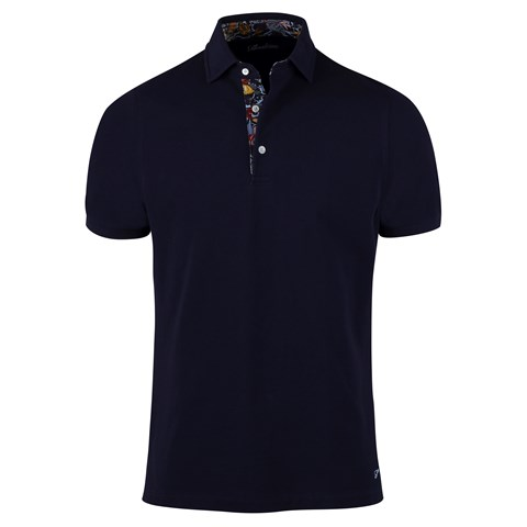 Cotton Polo Shirt Contrast Navy
