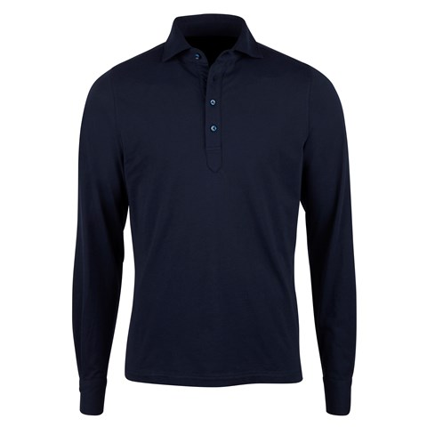 Cotton Pop Over Shirt Long Sleeve Navy
