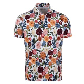 Printed Flower Cotton Polo Shirt