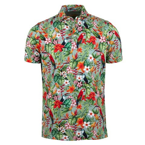Printed Tropical Cotton Polo Shirt Green