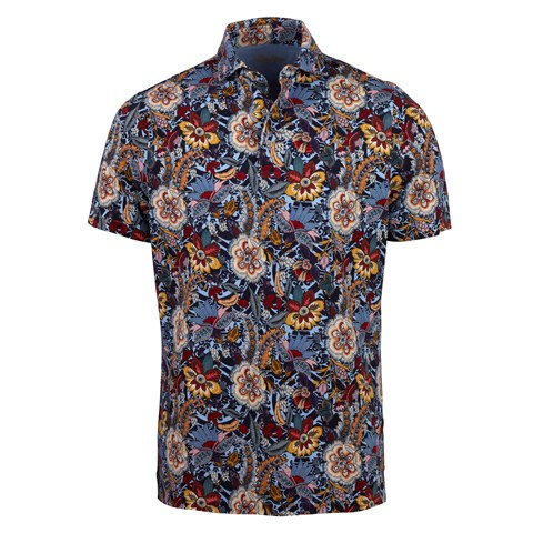 Printed Flower Cotton Polo Shirt Blue
