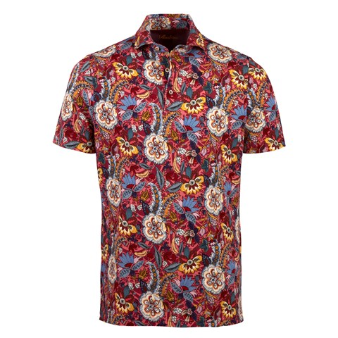 Printed Flower Cotton Polo Shirt Red