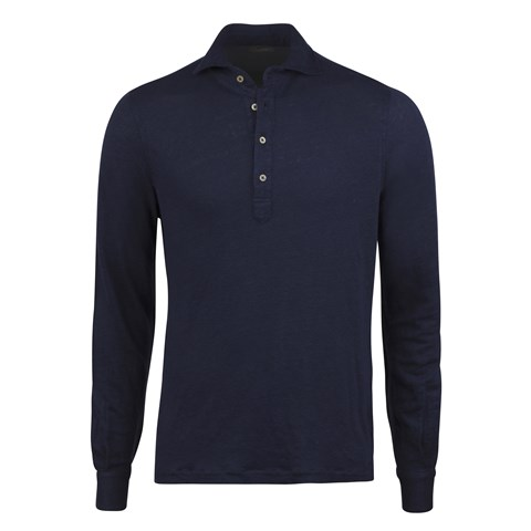 Navy Linen Pop Over Shirt