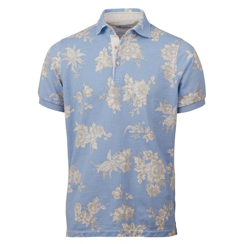 Blue Floral Polo Shirt