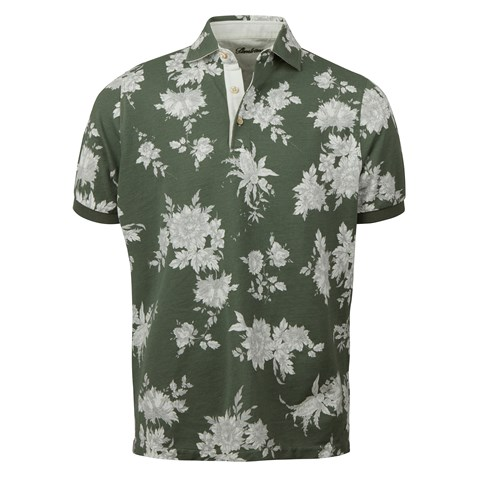 Green Floral Polo Shirt