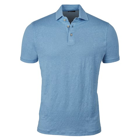 Light Blue Linen Polo Shirt