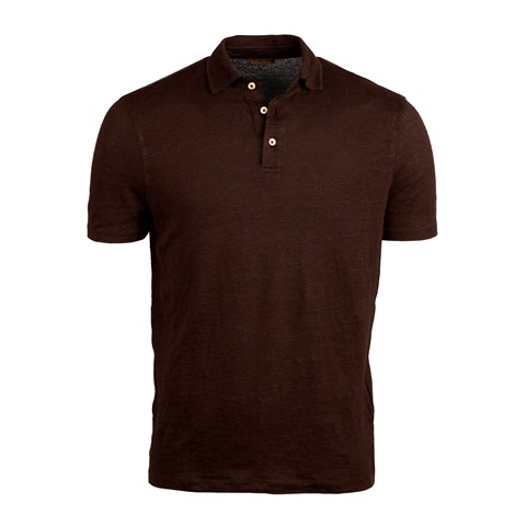 Brown Linen Polo Shirt